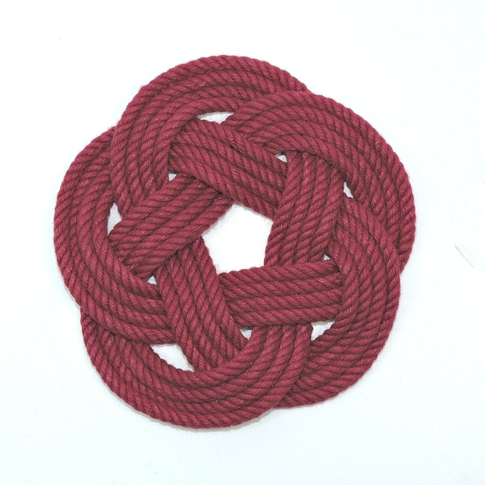 Nautical Knot Sailor Knot Coasters, woven in Burgundy , Set of 4 handmade at Mystic Knotwork