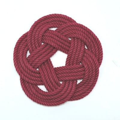 Nautical Sailor Knot Coasters, woven in Burgundy , Set of 4 Handmade sailor knot American Made in Mystic, CT $ 20.00