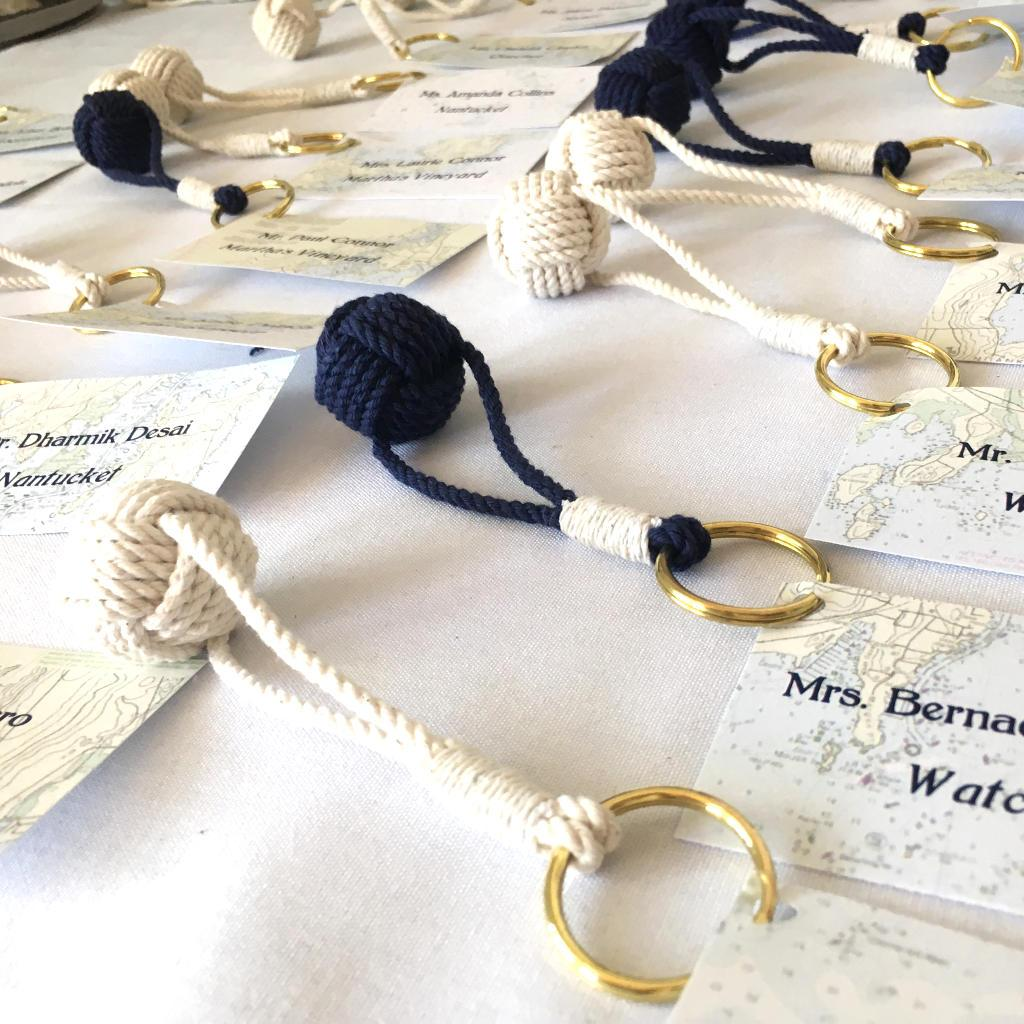 Monkey Fist nautical favors for valet cards