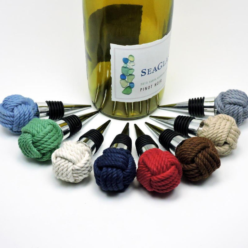 Nautical Knot Nautical Monkey Fist Bottle Stopper handmade at Mystic Knotwork