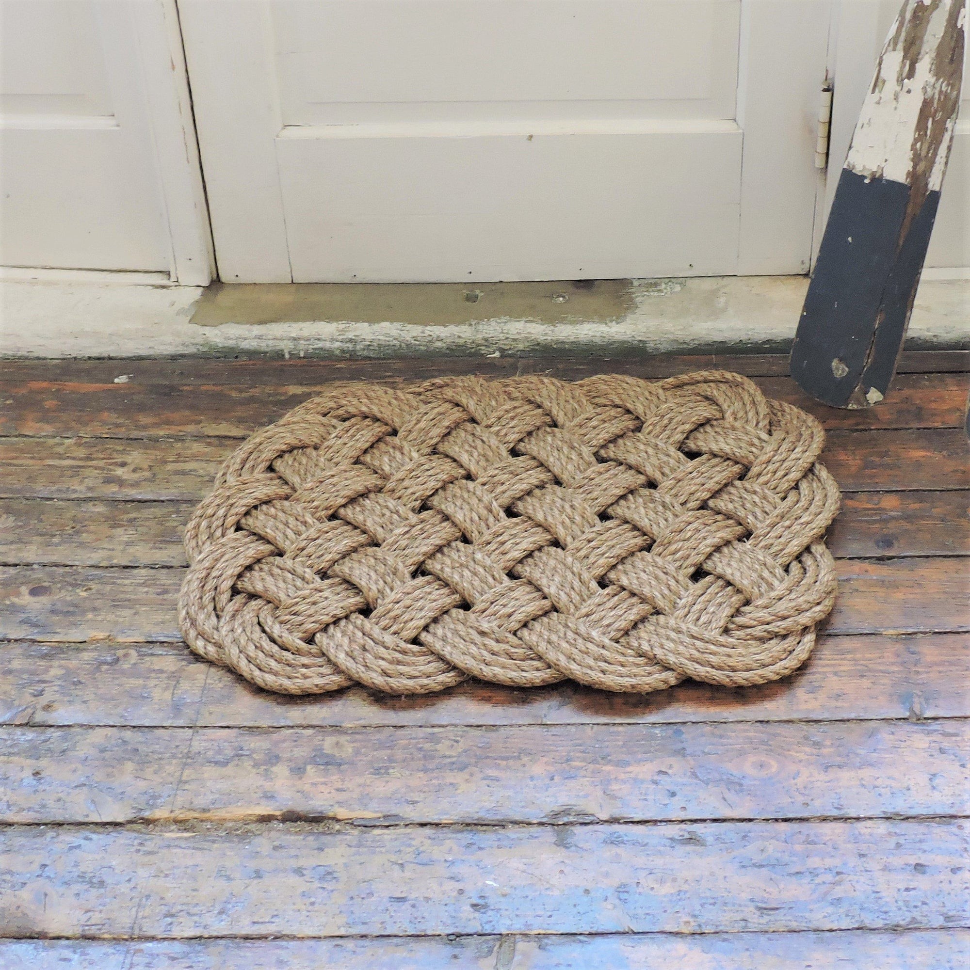 Nautical Knot Woven Nautical Entry Rug, Square Door Mat handmade at Mystic Knotwork