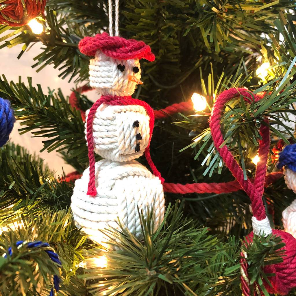 Red Cap Nautical Snowman Hand Woven Monkey Knots for your tree