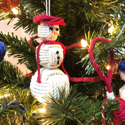 Forest Green Cap Nautical Snowman Hand Woven Monkey Knots for your tree
