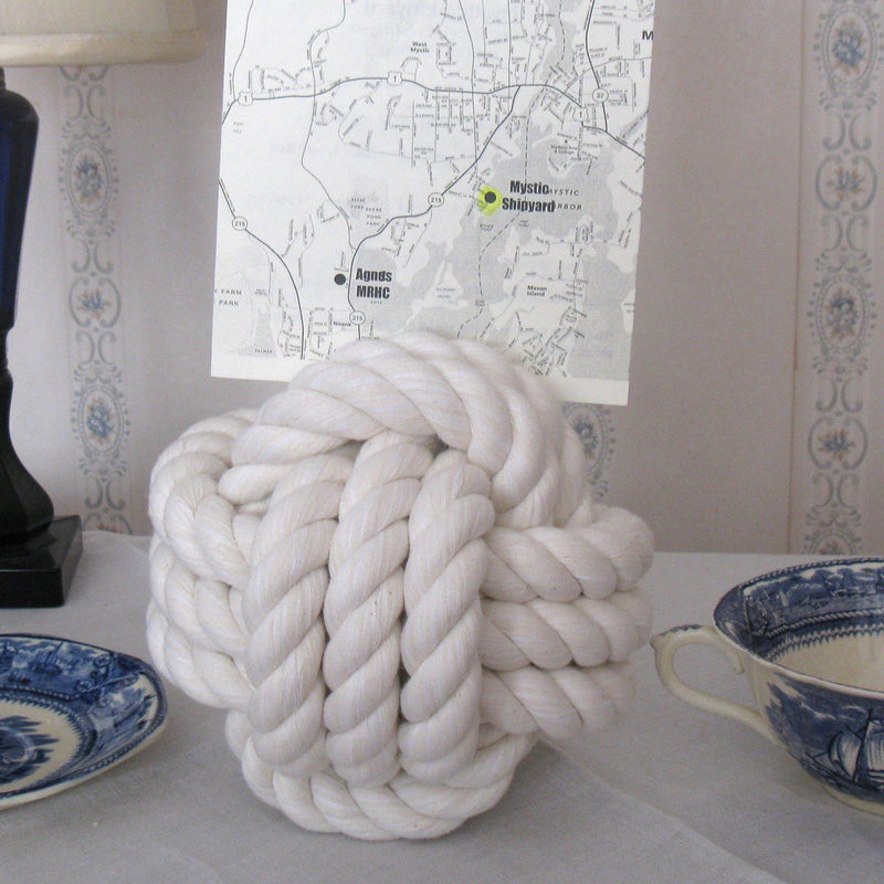 "Nautical Knot Nautical Knot Card Holder, White, 6"", 3-Pass handmade at Mystic Knotwork"