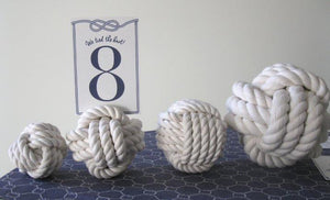 "Nautical Knot Card Holder, White, 4"", 3-Pass Monkey Fist Knot - Mystic Knotwork nautical knot"