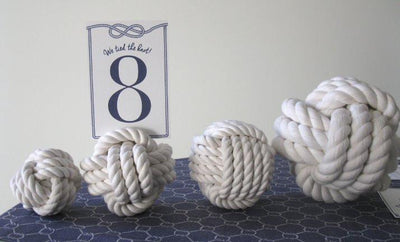 "Nautical Knot Nautical Knot Card Holder, White, 4"", 3-Pass Monkey Fist Knot handmade at Mystic Knotwork"