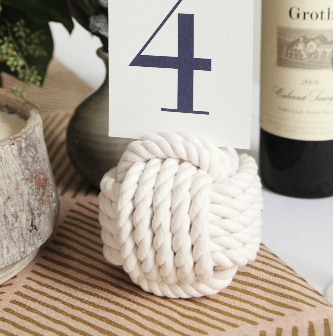 "Nautical Knot Card Holder, White, 4.5"", 5-Pass - Mystic Knotwork nautical knot"