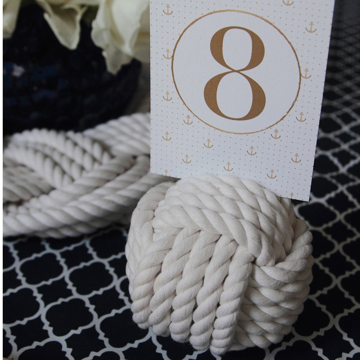 Wedding Knot Number Holders for your Nautical Wedding 4 Pack of white Monkey Fist Knots
