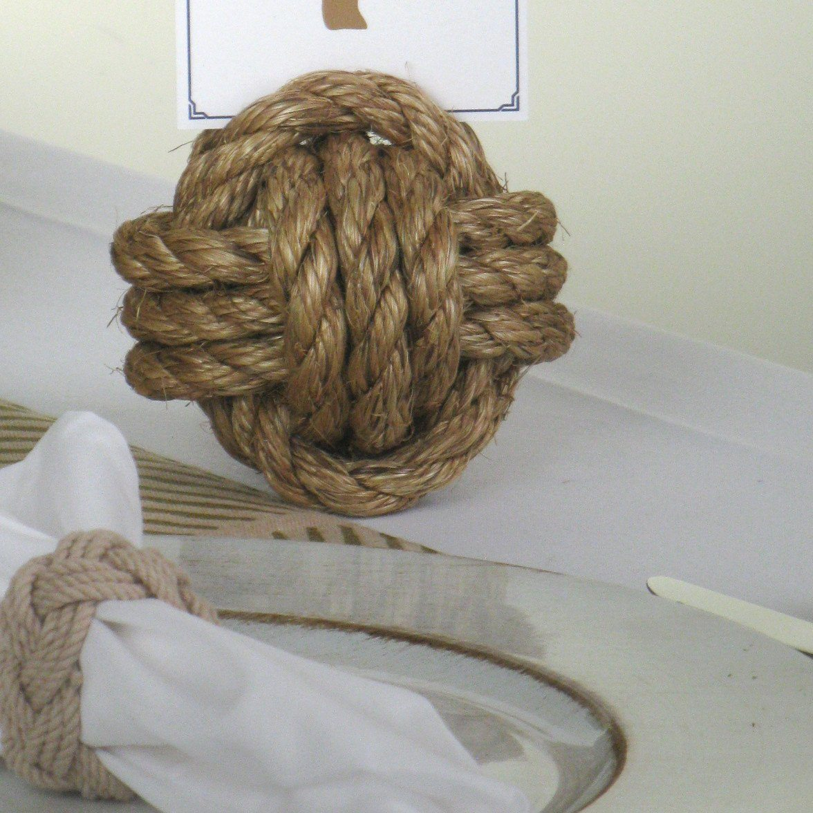 "Nautical Nautical Knot Card Holder, Manila, 4"", 3-Pass Handmade sailor knot American Made in Mystic, CT $ 8.55"