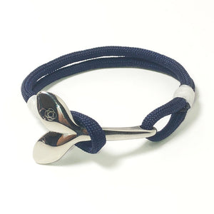 Navy Blue Nautical Whale Tail Bracelet Stainless Steel 020