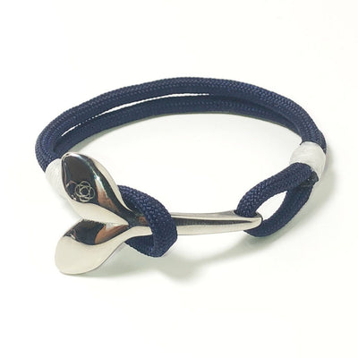 Navy Blue Nautical Whale Tail Bracelet Stainless Steel 20 - Mystic Knotwork nautical knot