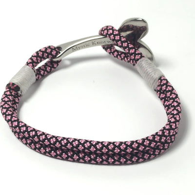 Nautical Pink Diamond Nautical Whale Tail Bracelet Stainless Steel 326 Handmade sailor knot American Made in Mystic, CT $ 25.00