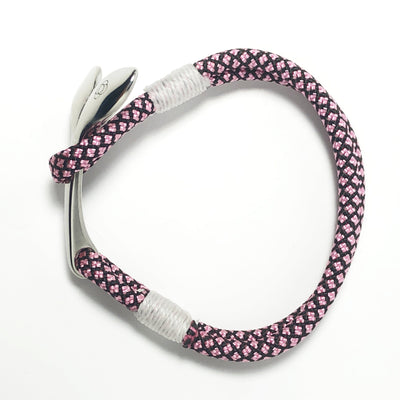 Nautical Knot Pink Diamond Nautical Whale Tail Bracelet Stainless Steel 326 handmade at Mystic Knotwork