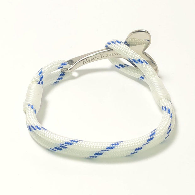 Blue Stripe Nautical Whale Tail Bracelet Stainless Steel 165 1