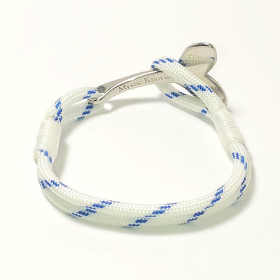 Nautical Knot Blue Stripe Nautical Whale Tail Bracelet Stainless Steel 165 handmade at Mystic Knotwork