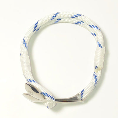 Blue Stripe Nautical Whale Tail Bracelet Stainless Steel 165 - Mystic Knotwork nautical knot
