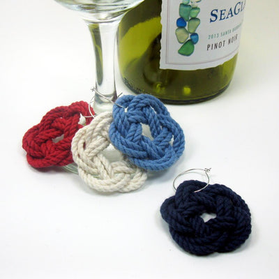 Nautical Sailor Knot Wine Charms Woven turkshead knots Handmade sailor knot American Made in Mystic, CT $ 3.00