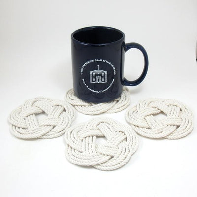 Nautical Knot Sailor Knot Coasters, Woven in White, Set of 4 handmade at Mystic Knotwork
