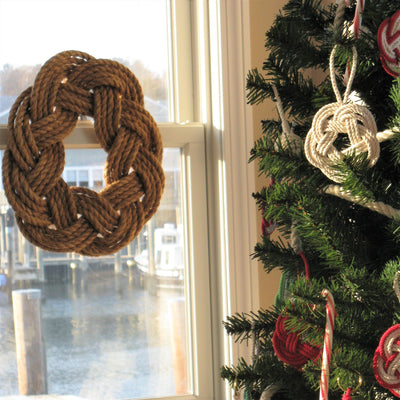 Nautical Nautical Wreath, Manila Rope Wreath Sailor Knot Wreath for wall or Centerpiece Handmade sailor knot American Made in Mystic, CT $ 50.00