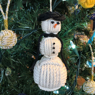 Black Cap Nautical Snowman Hand Woven Monkey Knots for your tree