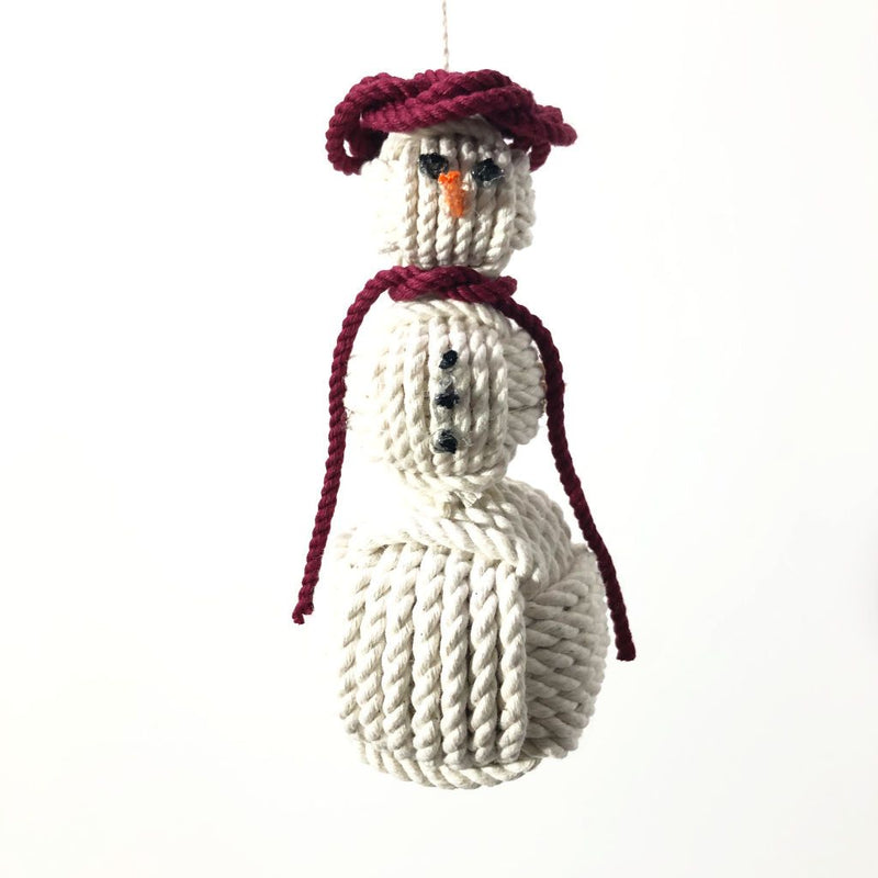 Burgundy Cap Nautical Snowman Hand Woven Monkey Knots for your tree