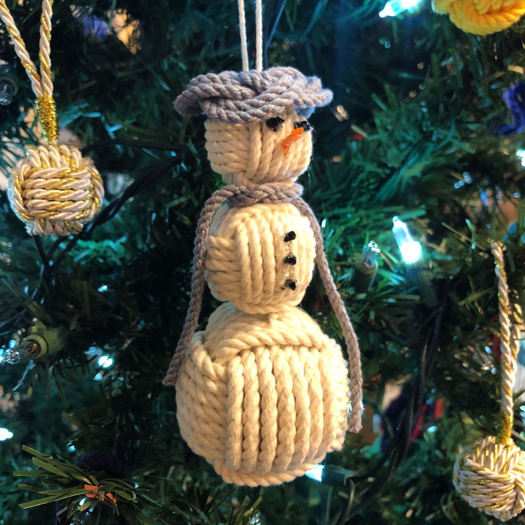 Gray Cap Nautical Snowman Hand Woven Monkey Knots for your tree