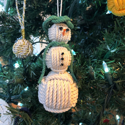 Green Cap Nautical Snowman Hand Woven Monkey Knots for your tree