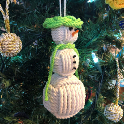 Lime Green Cap Nautical Snowman Hand Woven Monkey Knots for your tree