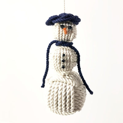 Navy Blue Cap Nautical Snowman Hand Woven Monkey Knots for your tree