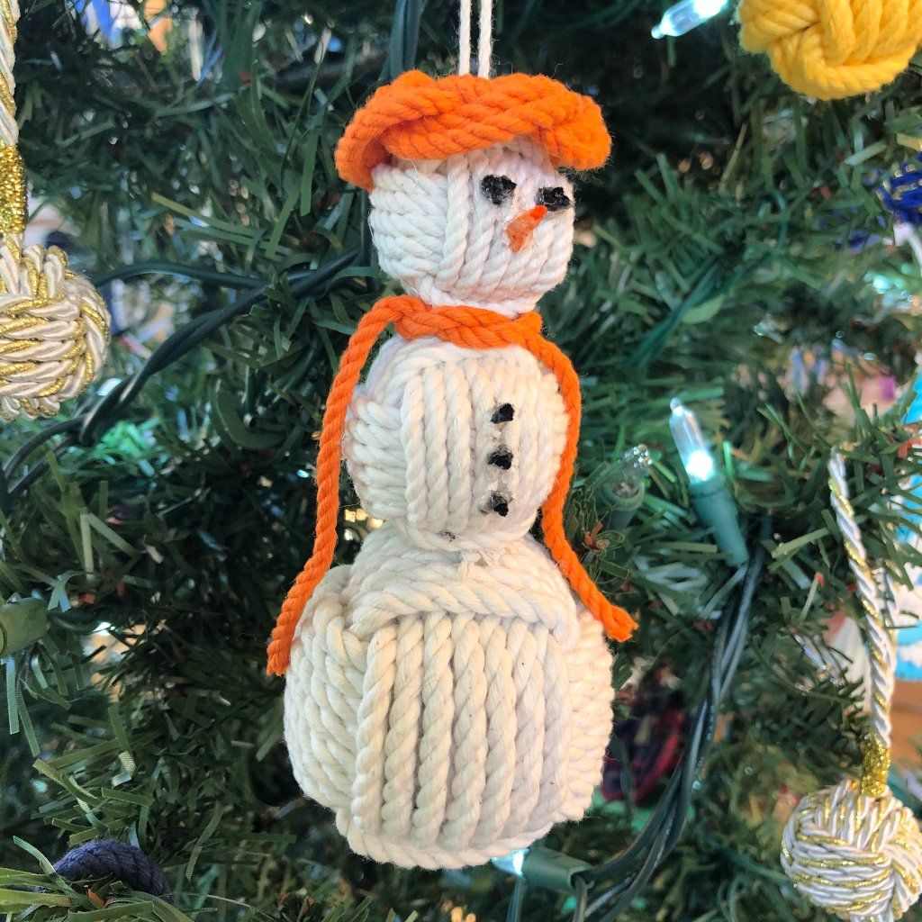 Orange Cap Nautical Snowman Hand Woven Monkey Knots for your tree