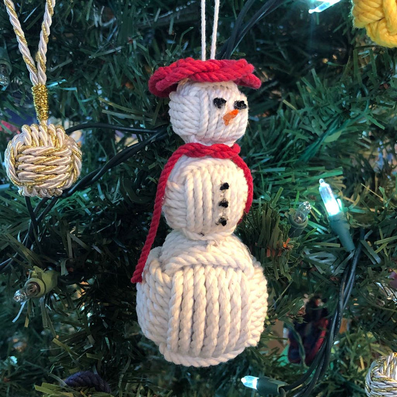 Nautical Nautical Snowman Hand Woven Monkey Knots for your tree -all choices- Handmade sailor knot American Made in Mystic, CT $ 30.00