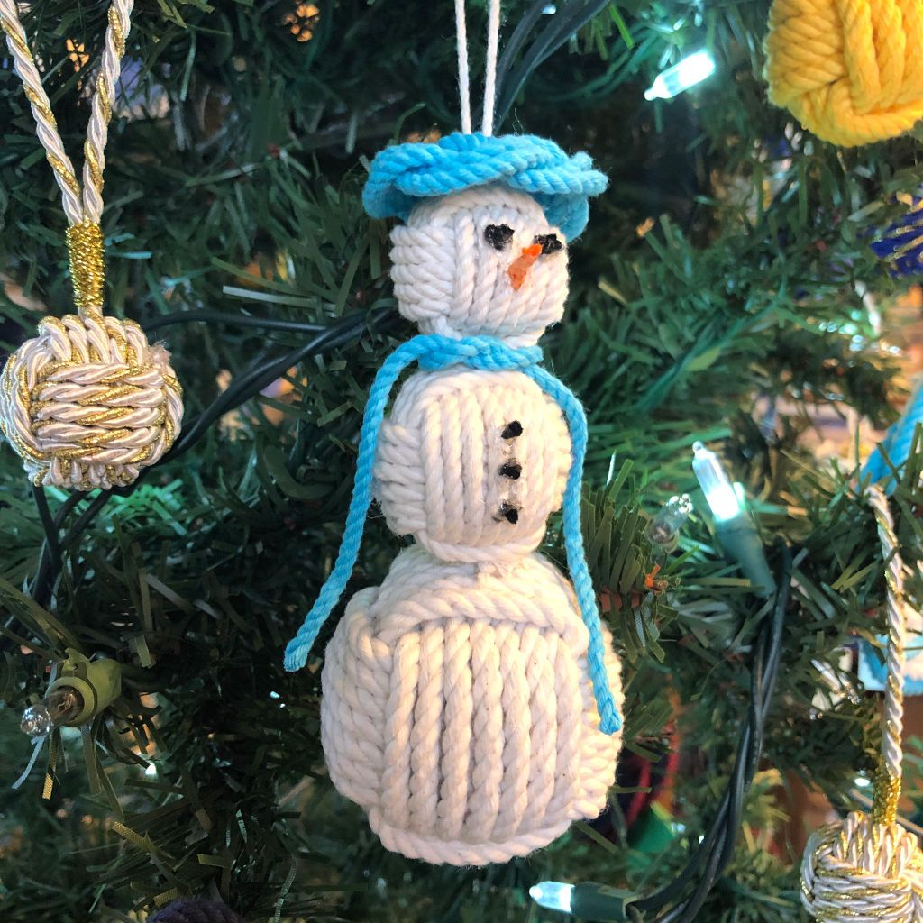 Turquoise Cap Nautical Snowman Hand Woven Monkey Knots for your tree