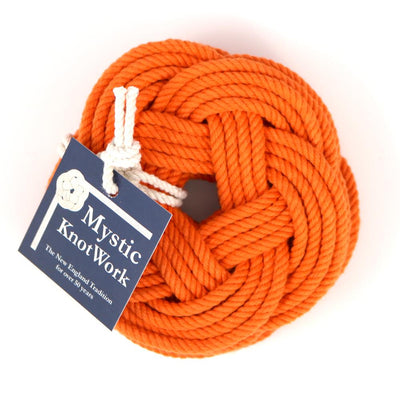 Sailor Knot Coasters, woven in Orange Cotton , Set of 4 - Mystic Knotwork nautical knot