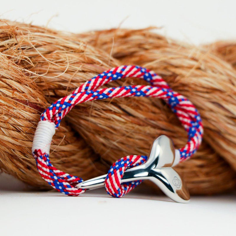 Nautical Knot Patriotic Nautical Whale Tail Bracelet Stainless Steel 187 handmade at Mystic Knotwork