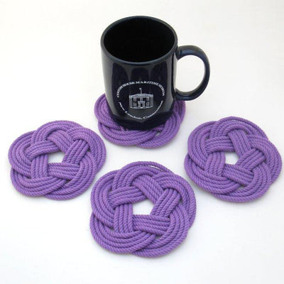 Nautical Sailor Knot Coasters, woven in Purple Cotton , Set of 4 Handmade sailor knot American Made in Mystic, CT $ 20.00