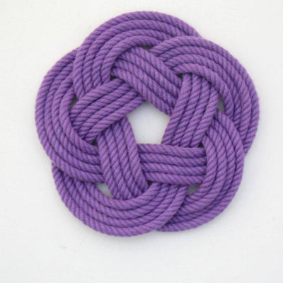 Nautical Knot Sailor Knot Coasters, woven in Purple Cotton , Set of 4 handmade at Mystic Knotwork