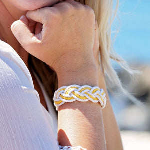 Striped Sailor Bracelet, White w/ Tropical Color Stripe - Mystic Knotwork nautical knot