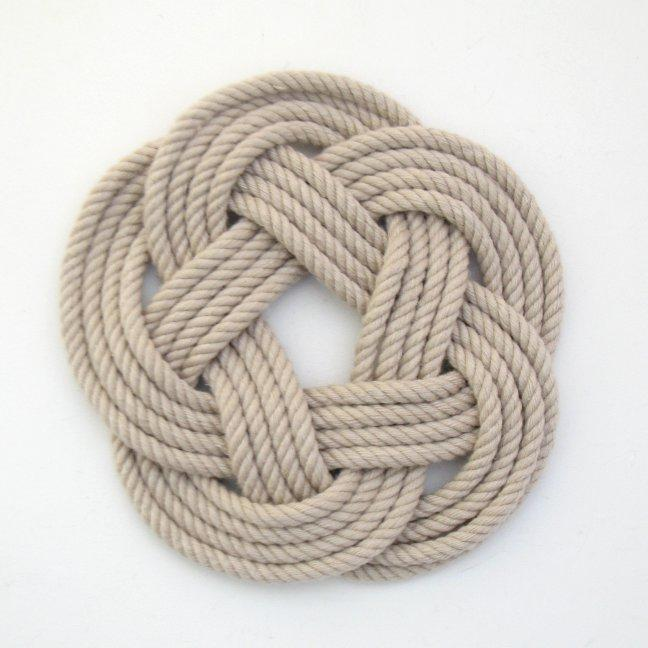 Nautical Sailor Knot Coasters, woven in Tan , Set of 4 Handmade sailor knot American Made in Mystic, CT $ 20.00