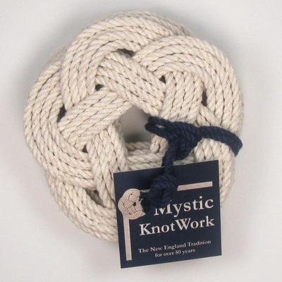 Sailor Knot Coasters, Woven in White, Set of 4 - Mystic Knotwork nautical knot