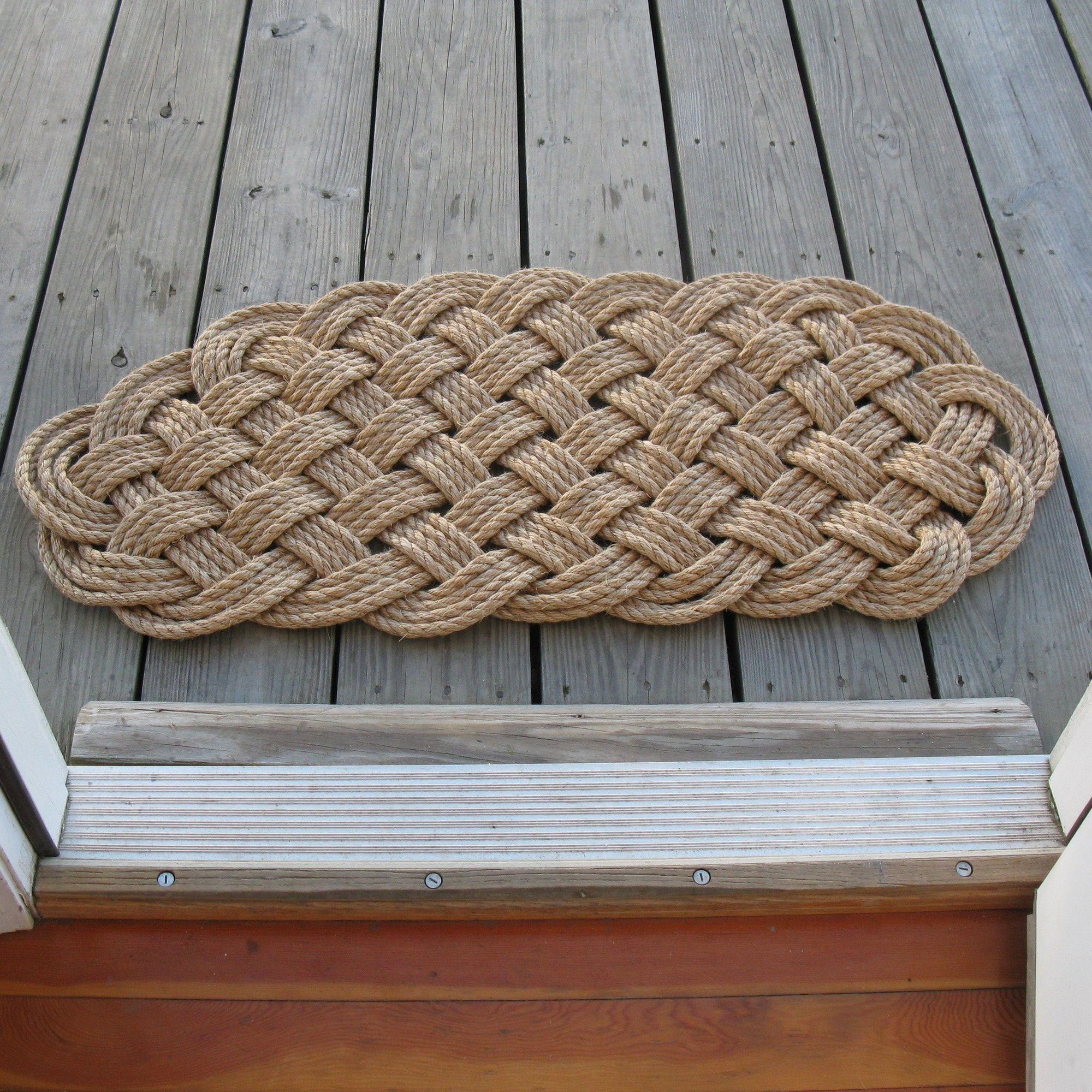 Nautical Knot Large Nautical Rope Mat from natural Manila Rope 2275 handmade at Mystic Knotwork
