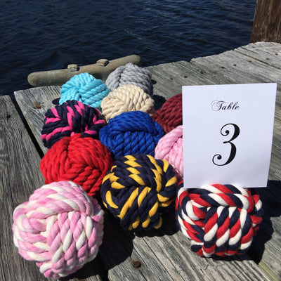 Large Cotton Monkey Fist Knots for Wedding Table Numbers - Mystic Knotwork nautical knot
