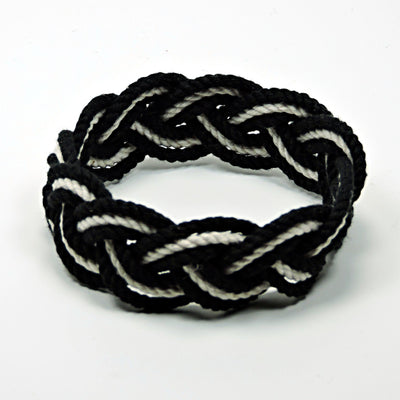 Nautical Knot Striped Sailor Bracelet, Nautical Colors w/ White Stripe handmade at Mystic Knotwork