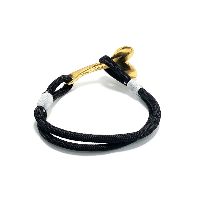 Black Nautical Whale Tail Bracelet Brass 002