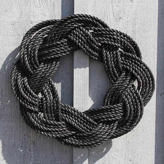 Nautical Wreath, Lobster Rope Sailor Knot Exterior Grade, Charcoal