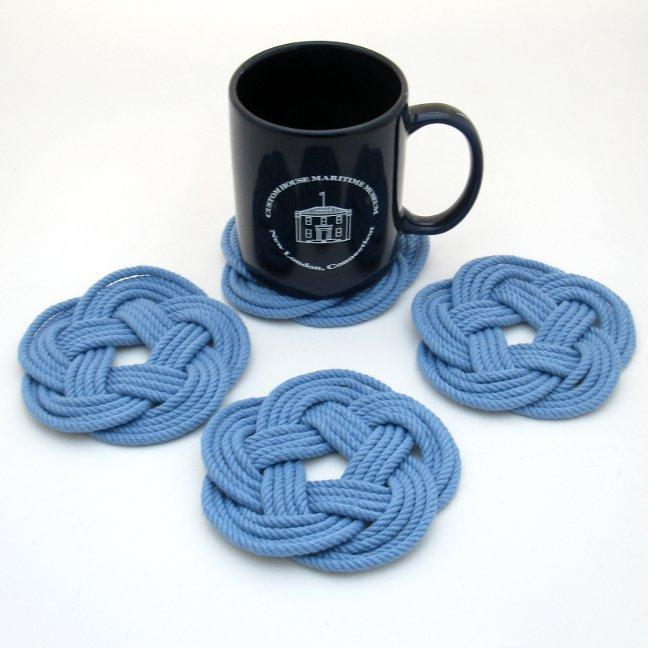 Nautical Sailor Knot Coasters, woven in Blue Cotton , Set of 4 Handmade sailor knot American Made in Mystic, CT $ 20.00