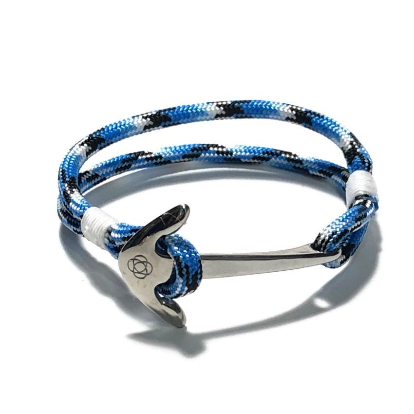 Nautical Knot Blue Ice Nautical Anchor Bracelet Stainless Steel 74 handmade at Mystic Knotwork