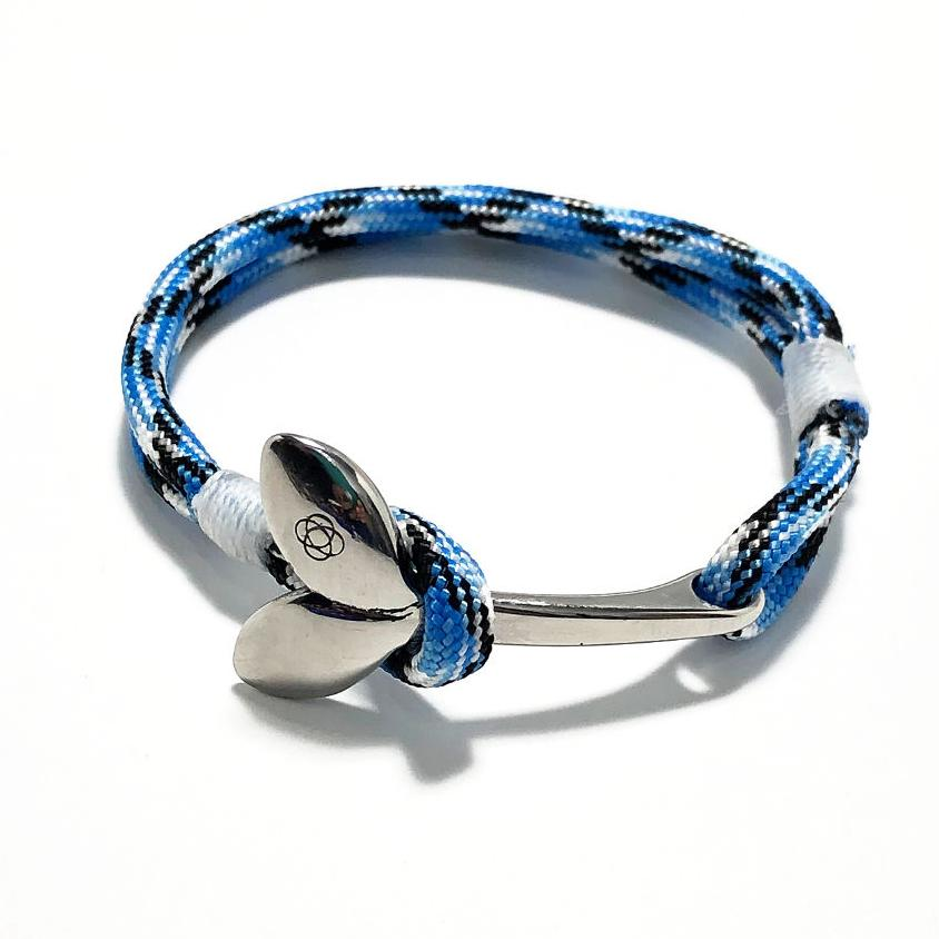 Nautical Knot Blue Ice Nautical Whale Tail Bracelet Stainless Steel 74 handmade at Mystic Knotwork