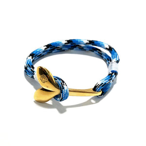 Blue Ice Nautical Whale Tail Bracelet Brass 074