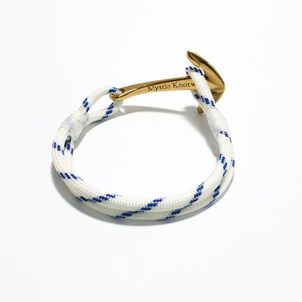 Blue Stripe Nautical Anchor Bracelet Brass 165