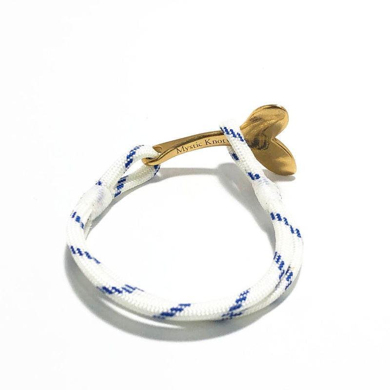 Blue Stripe Nautical Whale Tail Bracelet Brass 165